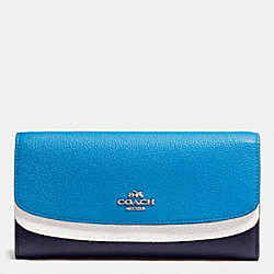 COACH DOUBLE FLAP WALLET IN COLORBLOCK LEATHER - SILVER/NAVY MULTI - F53858