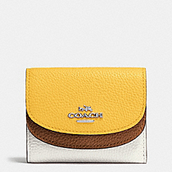 DOUBLE FLAP SMALL WALLET IN COLORBLOCK LEATHER - SILVER/CANARY MULTI - COACH F53859