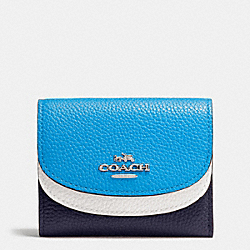 COACH DOUBLE FLAP SMALL WALLET IN COLORBLOCK LEATHER - SILVER/NAVY MULTI - F53859