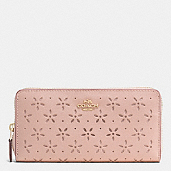COACH ACCORDION ZIP WALLET IN LASER CUT LEATHER - IMITATION GOLD/PEACH ROSE GLITTER - F53868