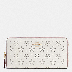 COACH ACCORDION ZIP WALLET IN LASER CUT LEATHER - IMITATION GOLD/CHALK GLITTER - F53868
