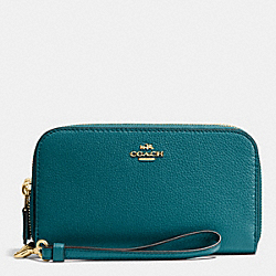 COACH DOUBLE ACCORDION ZIP WALLET IN PEBBLE LEATHER - IMITATION GOLD/ATLANTIC - F53891