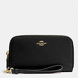 COACH DOUBLE ACCORDION ZIP WALLET IN PEBBLE LEATHER - IMITATION GOLD/BLACK - F53891