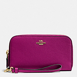 COACH DOUBLE ACCORDION ZIP WALLET IN PEBBLE LEATHER - IMITATION GOLD/FUCHSIA - F53891