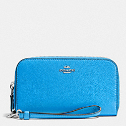 COACH DOUBLE ACCORDION ZIP WALLET IN PEBBLE LEATHER - SILVER/AZURE - F53891