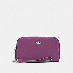DOUBLE ACCORDION ZIP WALLET IN PEBBLE LEATHER - f53891 - SILVER/MAUVE