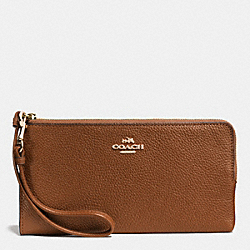 COACH ZIP WALLET IN POLISHED PEBBLE LEATHER - LIGHT GOLD/SADDLE - F53892