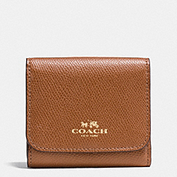 COACH SMALL WALLET IN RAINBOW COLORBLOCK LEATHER - IMITATION GOLD/SADDLE MULTI - F53895