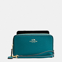 COACH DOUBLE ZIP PHONE WALLET IN CROSSGRAIN LEATHER - IMITATION GOLD/ATLANTIC - F53896