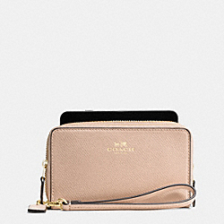 COACH DOUBLE ZIP PHONE WALLET IN CROSSGRAIN LEATHER - IMITATION GOLD/BEECHWOOD - F53896