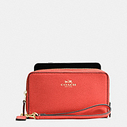 COACH DOUBLE ZIP PHONE WALLET IN CROSSGRAIN LEATHER - IMITATION GOLD/WATERMELON - F53896