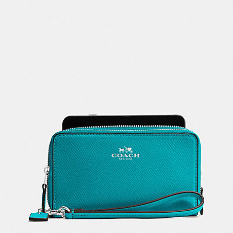 COACH f53896 DOUBLE ZIP PHONE WALLET IN CROSSGRAIN LEATHER SILVER/TURQUOISE