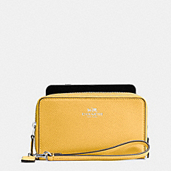COACH DOUBLE ZIP PHONE WALLET IN CROSSGRAIN LEATHER - SILVER/CANARY - F53896