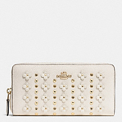 COACH FLORAL RIVET ACC ZIP;LI/CHK - LIGHT GOLD/CHALK - F53907