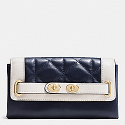 COACH BLAKE WALLET IN QUILTED COLORBLOCK LEATHER - IMITATION GOLD/MIDNIGHT/CHALK - F53910