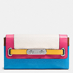 COACH COACH SWAGGER WALLET IN RAINBOW COLORBLOCK LEATHER - SILVER/AZURE MULTI - F53911