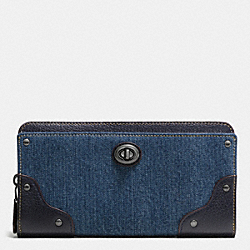 COACH MERCER ACCORDION ZIP WALLET IN COLORBLOCK DENIM - DARK GUNMETAL/DENIM/BLACK - F53920