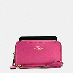COACH DOUBLE ZIP PHONE WALLET IN WILDFLOWER COATED CANVAS - IMITATION GOLD/DAHLIA - F53933