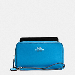 COACH DOUBLE ZIP PHONE WALLET IN WILDFLOWER COATED CANVAS - SILVER/AZURE MULTI - F53933