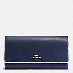 COACH TRIFOLD WALLET IN EDGEPAINT CROSSGRAIN LEATHER - IMITATION GOLD/MIDNIGHT/CHALK - F53935