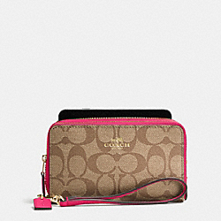 COACH DOUBLE ZIP PHONE WALLET IN SIGNATURE - IMITATION GOLD/KHAKI BRIGHT PINK - F53937