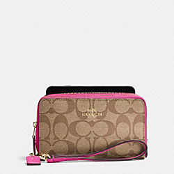 COACH DOUBLE ZIP PHONE WALLET IN SIGNATURE - IMITATION GOLD/KHAKI/DAHLIA - F53937
