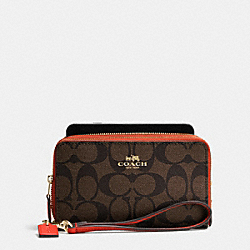 COACH DOUBLE ZIP PHONE WALLET IN SIGNATURE - IMITATION GOLD/BROWN/CARMINE - F53937