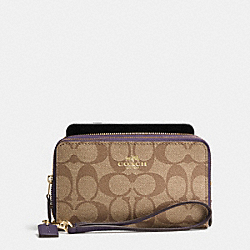COACH DOUBLE ZIP PHONE WALLET IN SIGNATURE - IMITATION GOLD/KHAKI AUBERGINE - F53937
