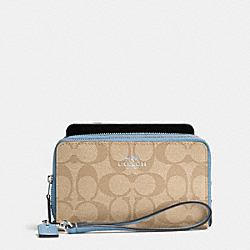 DOUBLE ZIP PHONE WALLET IN SIGNATURE - f53937 - SILVER/LIGHT KHAKI/CORNFLOWER