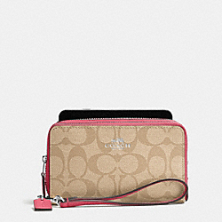 COACH DOUBLE ZIP PHONE WALLET IN SIGNATURE - SILVER/LIGHT KHAKI/STRAWBERRY - F53937