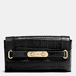 COACH COACH SWAGGER WALLET IN CROC EMBOSSED LEATHER - LIGHT GOLD/BLACK - F53963