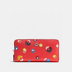 COACH ACCORDION ZIP WALLET IN WILD PRAIRIE PRINT COATED CANVAS - SILVER/CARMINE WILD PRAIRIE - F53965