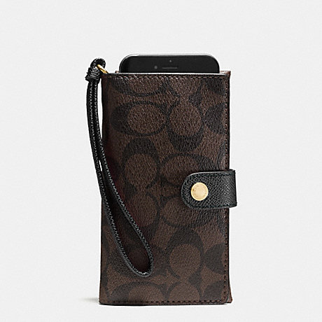 COACH PHONE CLUTCH IN SIGNATURE - IMITATION GOLD/BROWN/BLACK - f53975