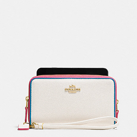 COACH DOUBLE ZIP PHONE WALLET IN EDGESTAIN LEATHER - LIGHT GOLD/CHALK MULTI - f53979