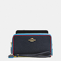 COACH DOUBLE ZIP PHONE WALLET IN EDGESTAIN LEATHER - LIGHT GOLD/NAVY MULTI - F53979