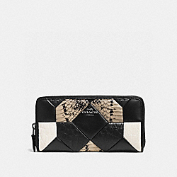 COACH CANYON QUILT ACCORDION ZIP WALLET IN EXOTIC EMBOSSED LEATHER - DARK GUNMETAL/BLACK/CHALK - F53985