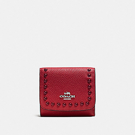 COACH SMALL WALLET IN PEBBLE LEATHER WITH LACQUER RIVETS - SILVER/RED CURRANT - f53990