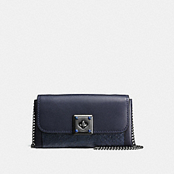 DRIFTER WALLET IN EXOTIC EMBOSSED LEATHER - f53994 - MIDNIGHT NAVY/