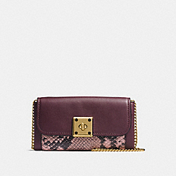 DRIFTER WALLET IN EXOTIC EMBOSSED LEATHER - f53994 - OXBLOOD MULTI