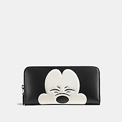 MICKEY ACCORDION ZIP WALLET IN GLOVETANNED LEATHER - f54000 - DARK GUNMETAL/BLACK2