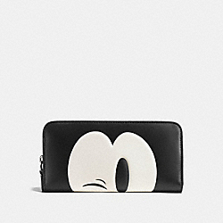 MICKEY ACCORDION ZIP WALLET IN GLOVETANNED LEATHER - f54000 - DARK GUNMETAL/BLACK4