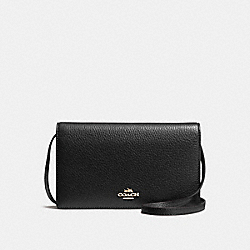 COACH FOLDOVER CLUTCH CROSSBODY IN PEBBLE LEATHER - IMITATION GOLD/BLACK - F54002