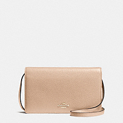 FOLDOVER CLUTCH CROSSBODY IN PEBBLE LEATHER - f54002 - IMITATION GOLD/BEECHWOOD
