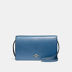 COACH FOLDOVER CROSSBODY CLUTCH - INK BLUE/LIGHT GOLD - F54002