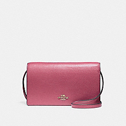 FOLDOVER CROSSBODY CLUTCH - LIGHT GOLD/ROUGE - COACH F54002