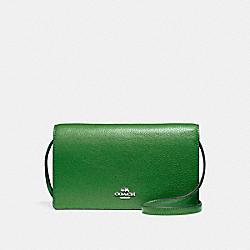 COACH FOLDOVER CROSSBODY CLUTCH - SILVER/KELLY GREEN - F54002
