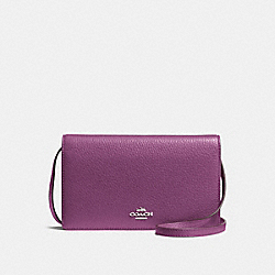 FOLDOVER CLUTCH CROSSBODY IN PEBBLE LEATHER - f54002 - SILVER/MAUVE