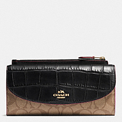 COACH POP SLIM ENVELOPE WALLET IN SIGNATURE WITH EXOTIC MIX TRIM - IMITATION GOLD/KHAKI/BLACK - F54004