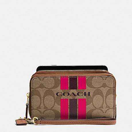 COACH COACH VARSITY STRIPE DOUBLE ZIP PHONE WALLET IN SIGNATURE - IMITATION GOLD/KHAKI/PINK RUBY - f54005