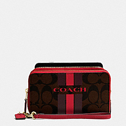 COACH COACH VARSITY STRIPE DOUBLE ZIP PHONE WALLET IN SIGNATURE - IMITATION GOLD/BROW TRUE RED - F54005